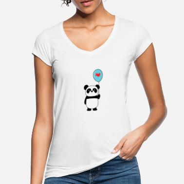 Thick Panda bear with heart on a balloon - Women's Vintage T-Shirt