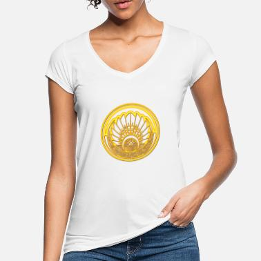 Circle Mayan mask, crop circle, Quetzalcoatl, indians - Women's Vintage T-Shirt