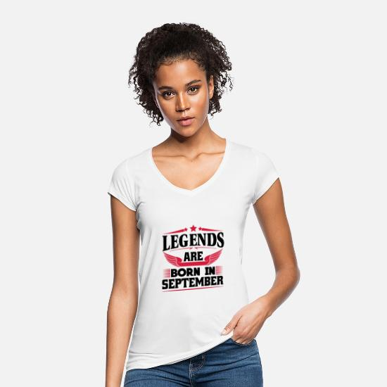 Horoscope T-Shirts - Legends Are Born In September - Women's Vintage T-Shirt white