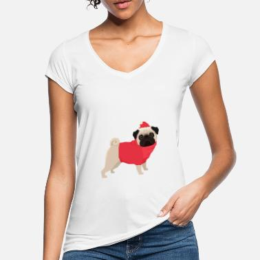 Funky Dogs Christmas Pug - Women's Vintage T-Shirt