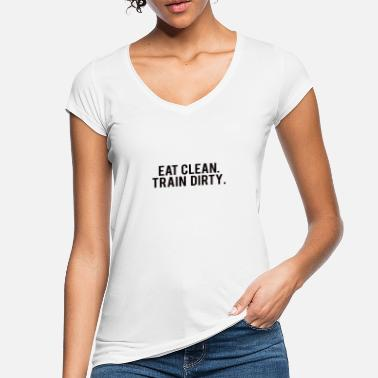 Workout POWERLIFTING : Eat clean. train dirty. - Frauen Vintage T-Shirt