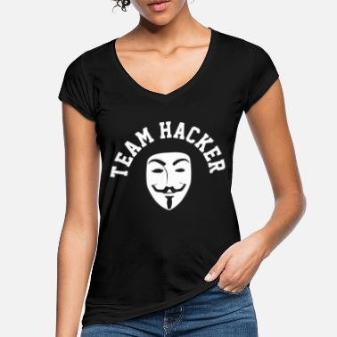 Hacker Hacker Anonymous Mask computer funny - Women's Vintage T-Shirt