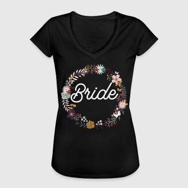 Bride Purple Floral Wreath - Women's Vintage T-Shirt