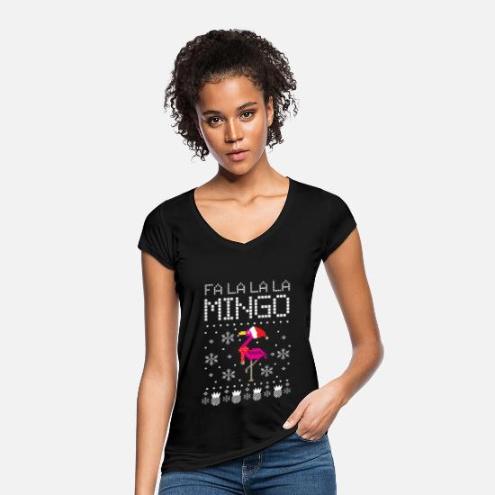 Christmas T-Shirts - Christmas falalalamingo flamingo - Women's Vintage T-Shirt black