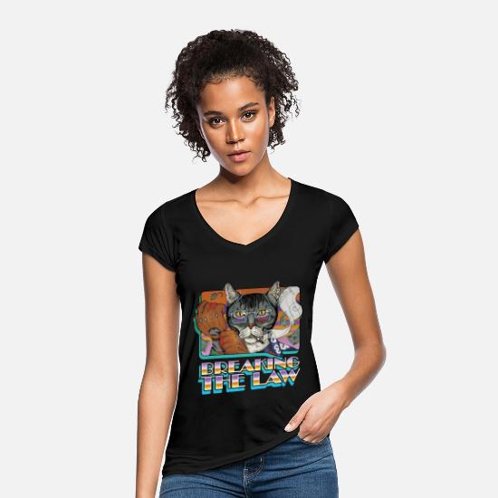 The Force T-Shirts - Crime Cat-Breaking the Law - Women's Vintage T-Shirt black