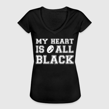 New Zealand My Heart Is All Black - Vrouwen Vintage T-shirt