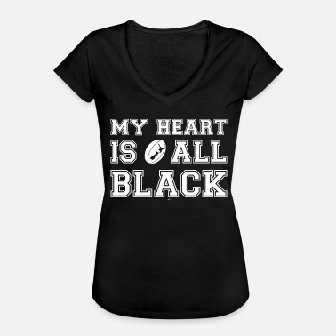 New Zealand My Heart Is All Black - Naisten vintage t-paita