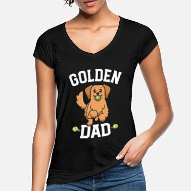 Kawaii Golden Retriever Dad Shirt Dog Papa Dogfather - Women's Vintage T-Shirt
