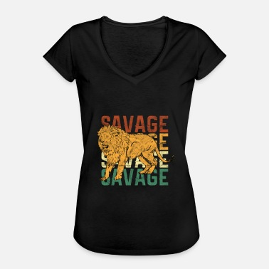 Animal Print Animal Prints - Savage Lion - Women's Vintage T-Shirt