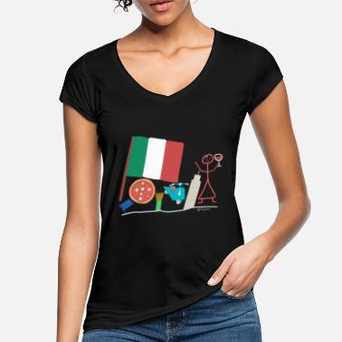 Southern Europe Italy stick figure mediteran southern europe country - Women's Vintage T-Shirt