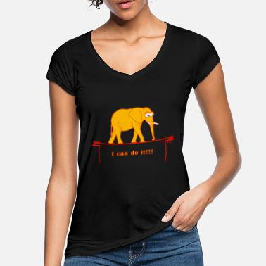 Tightrope Walk I can do it! Elephant, tightrope walk - Women's Vintage T-Shirt