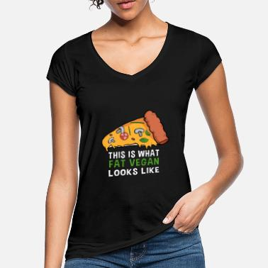 Pizza vegan pizza - fat vegan looks like - Women's Vintage T-Shirt