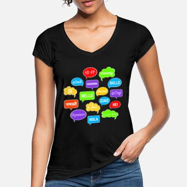 Language Colorful speech bubbles with hello in many languages - Women's Vintage T-Shirt