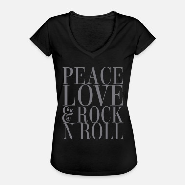Rock And Roll Rock and roll love - Vintage-T-shirt dam