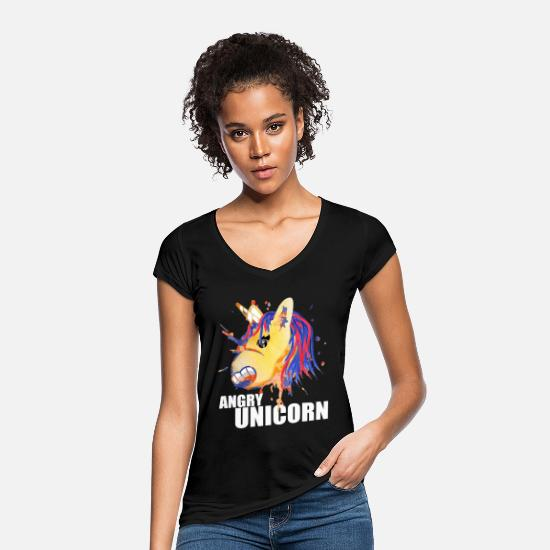 Birthday T-Shirts - Unicorn Design: Angry unicorn - Women's Vintage T-Shirt black
