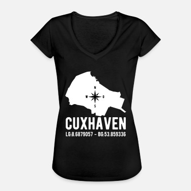 Latitude Cuxhaven latitude latitude city outline - Women's Vintage T-Shirt