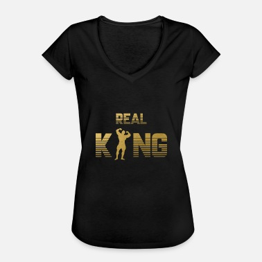 Muscle King Real King - Bodybuilder Fitness Gym Muscles Dumbbell - Women's Vintage T-Shirt