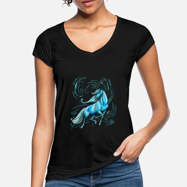 Pets Horse Beautiful Elegant Water Gift Blue Funny - Women's Vintage T-Shirt