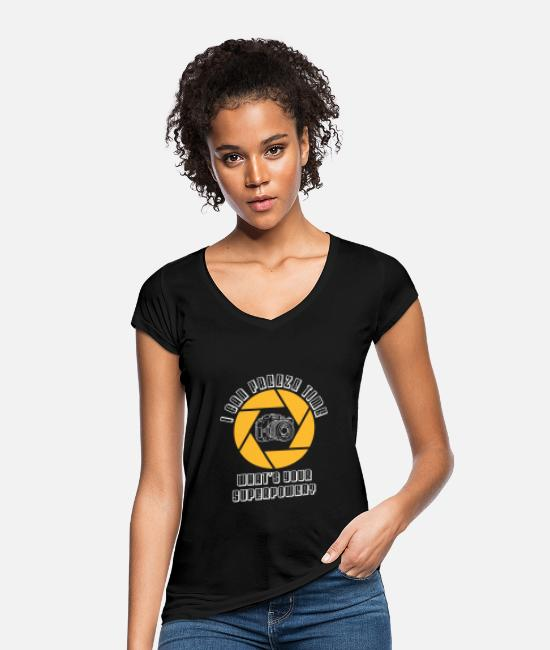 Photographer T-Shirts - Camera Photography Photographer SLR Gift - Women's Vintage T-Shirt black