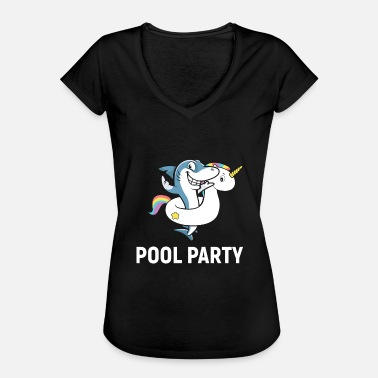 Pool Shark Shark Unicorn Pool Party - Women's Vintage T-Shirt