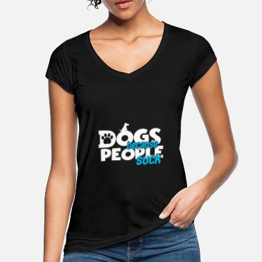Rescue Dogs People Suck Paw Print Sarcastic Saying - Frauen Vintage T-Shirt