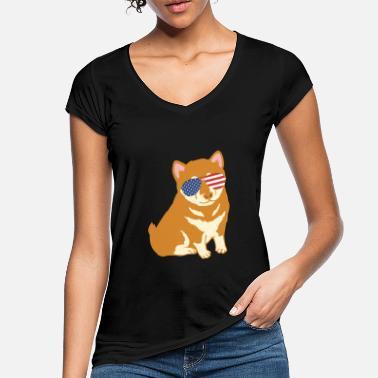 Corgi Amerikan lippu Aurinkolasit - Naisten vintage t-paita 8305eb4f37