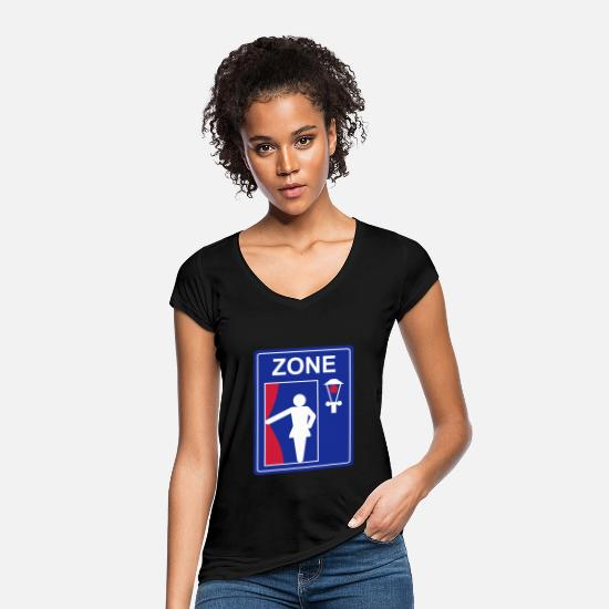 Prostitute T-Shirts - road sign prostitution zone - Women's Vintage T-Shirt black