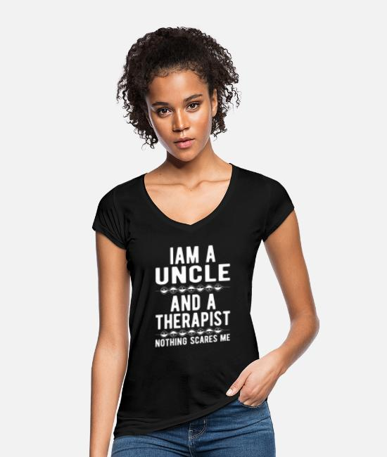 Mental Health T-Shirts - Uncle Therapist: Iam an Uncle and a Therapist - Women's Vintage T-Shirt black