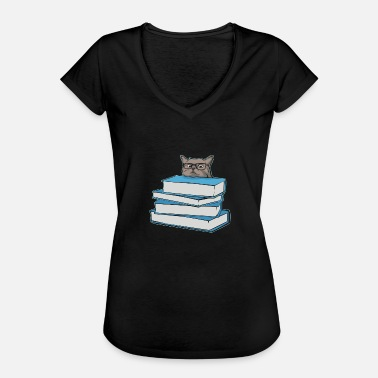 Bookworm Cat lover and bookworm - reading books - Women's Vintage T-Shirt