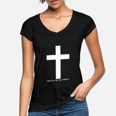 Cruz Techno is my religion Kreuz weiß - Camiseta vintage mujer