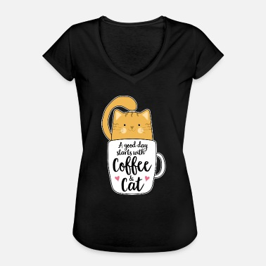 Tabby Cat Orange cat coffee cat lover gift - Women's Vintage T-Shirt