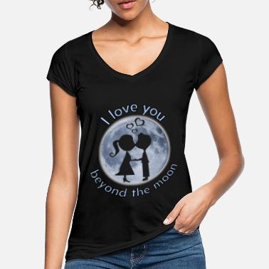 i love you beyond the moon valentine gift - Women's Vintage T-Shirt