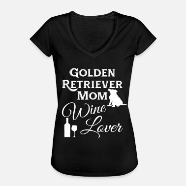 I Love Mamma Golden Retrievers Mamma og Vin Lover - Vintage-T-skjorte for kvinner