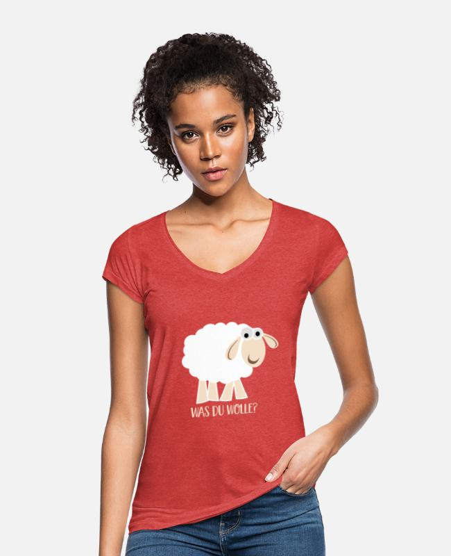 Was Du Wolle T-Shirts - Was Du wolle - Frauen Vintage T-Shirt Rot meliert