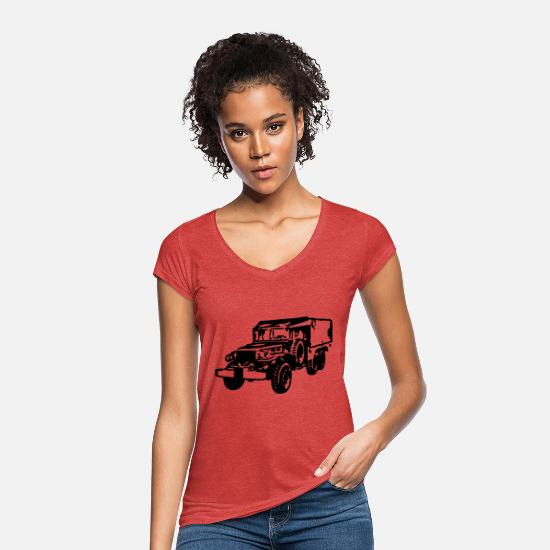 Dday T-Shirts - AVM DODGE 6x6 WC63 - VECTOR - MULTICOLOR DESIGN - Women's Vintage T-Shirt heather red