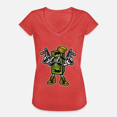 Gangster Cartoon CASH GANGSTER - cartoon comic character motif shirt - Women's Vintage T-Shirt