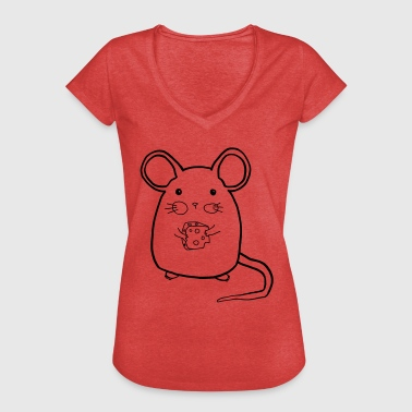 Mouse Cheese Mouse with cheese - Women's Vintage T-Shirt