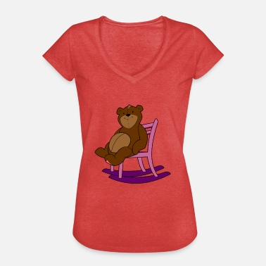 Rocking Chair Bear on rocking chair - Women's Vintage T-Shirt
