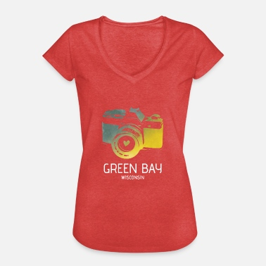 Green Bay Packers Green Bay Camera met hart - Vrouwen Vintage T-shirt