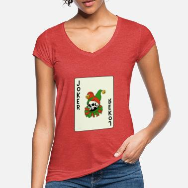 Cards Skull Clown Playing Card Card Game Joker Gift - Women's Vintage T-Shirt