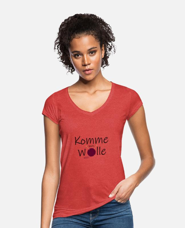 Farbe T-Shirts - Wolle Spruch - Frauen Vintage T-Shirt Rot meliert