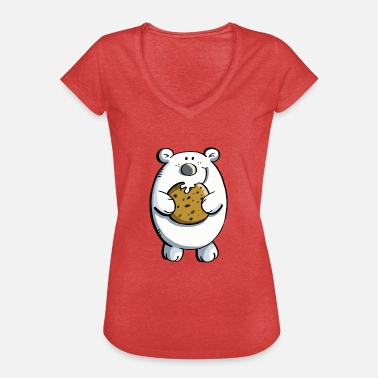 Cutter Sweet polar bear with huge biscuit - Women's Vintage T-Shirt