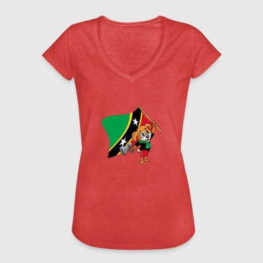 St. Kitts og Nevis fan hund - Dame vintage T-shirt