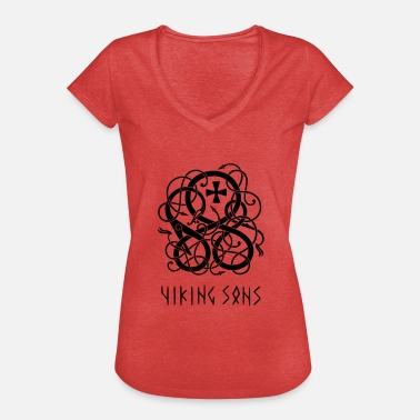 Staves Viking symbolism in the style of Urnes stave church - Women's Vintage T-Shirt