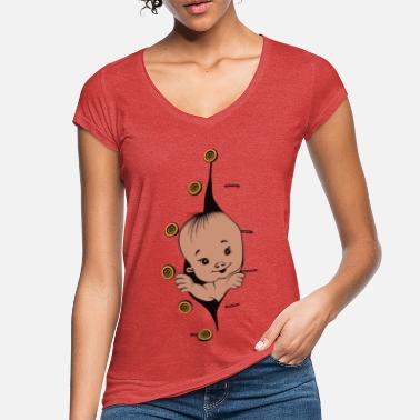 Design 1 baby with smile buttons left - T-shirt vintage Femme