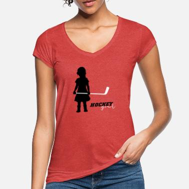 I Love Hockey Hockey Girl I - Vrouwen vintage T-Shirt