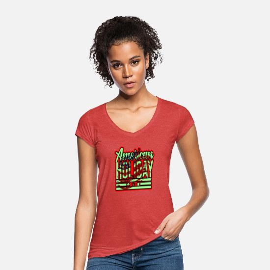 Travel T-Shirts - USA holiday - Women's Vintage T-Shirt heather red