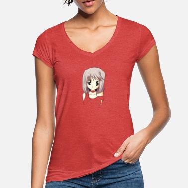 Gamer Anime girl big eyes manga regalo japonés - Camiseta vintage mujer