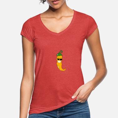 b826655e8d Cara Naranja Chile naranja con cara y gafas de sol - Camiseta vintage mujer