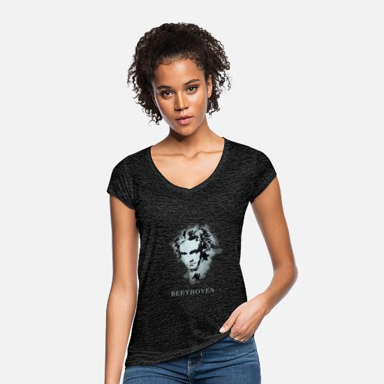 Classical Music T-Shirts - Beethoven Portrait - Women's Vintage T-Shirt charcoal grey
